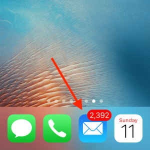 iPhone Screen showing 2393 Unopened Emails